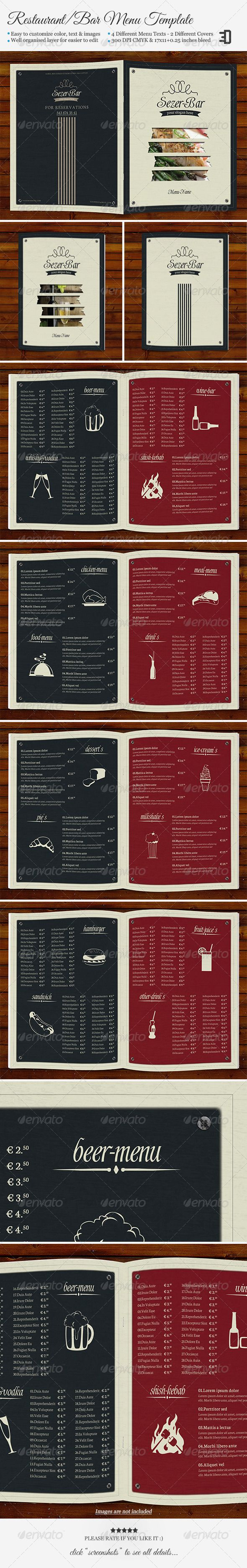"""Restaurant/Bar Menu Template #GraphicRiver FEATURES 2 PSD files; menu objects 1 Info.txt 4 different menu texts 2 different covers Easy to customize Editable fonts/text/color Well organized layer Food symbols included Images are not included DIMENSIONS 17"""" x 11"""" (Open) 8.5"""" x 11"""" (Close) 0.25"""" bleed 300 DPI CMYK FREE FONTS Shardee Neuton Food Bergamot Ornaments Preview Video Video Created: 2October13 GraphicsFilesIncluded: PhotoshopPSD Layered: Yes MinimumAdobeCSVersion: CS PrintDimensions…"""