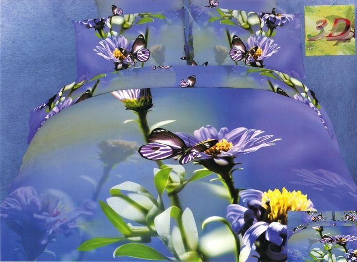 Trójwymiarowa pościel koloru fioletowego w kwiaty