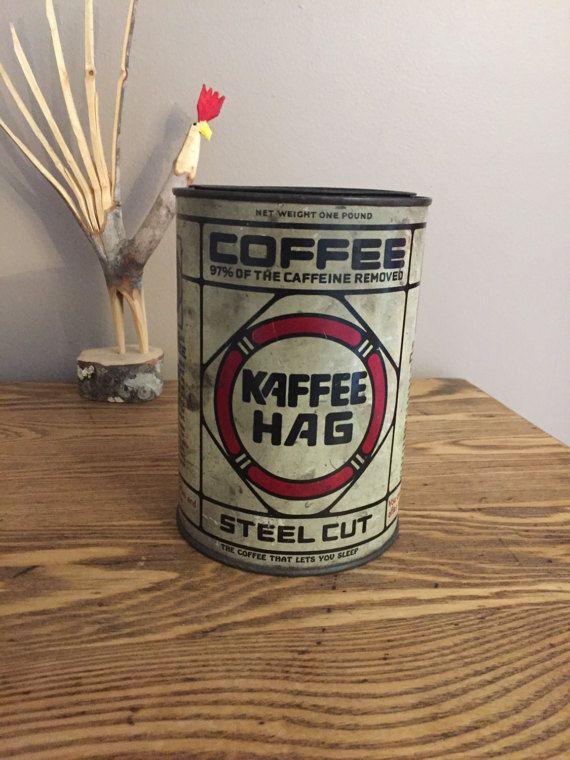 Kaffee Hag Steel Cut Coffee Tin Vintage 1927 by AStringorTwo