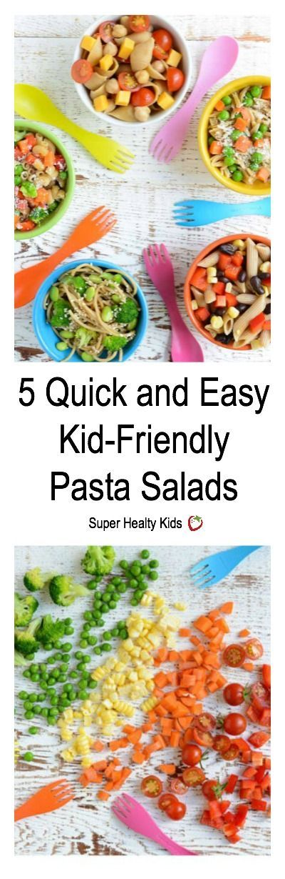5 Quick and Easy Kid-Friendly Pasta Salads. 5 pasta salads for the whole family! www.superhealthykids.com/5-quick-easy-kid-friendly-pasta-salads