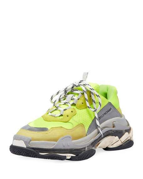 """Balenciaga Triple S Mesh & Leather Sneaker, Yellow. Balenciaga trainer sneaker in mesh and calf leather with suede trim. Round toe. Lace-up front. Looped pull at tongue. Tricolor rubber outsole. Dad sneaker. """"Triple S"""" is made in Italy."""