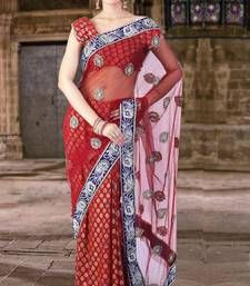 Buy Carmine Red Benarasi Silk and Net Embroidered Party and Festival Saree designer-embroidered-saree online