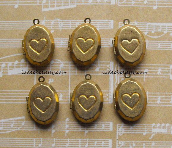 Brass Lockets with Hearts. Starting at $1 on Tophatter.com!