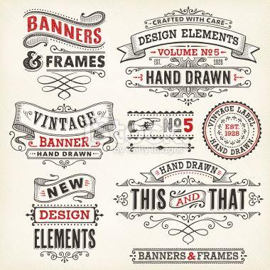 Banners and Frames Hand Drawn Ilustraciones vectoriales sin derechos de autor