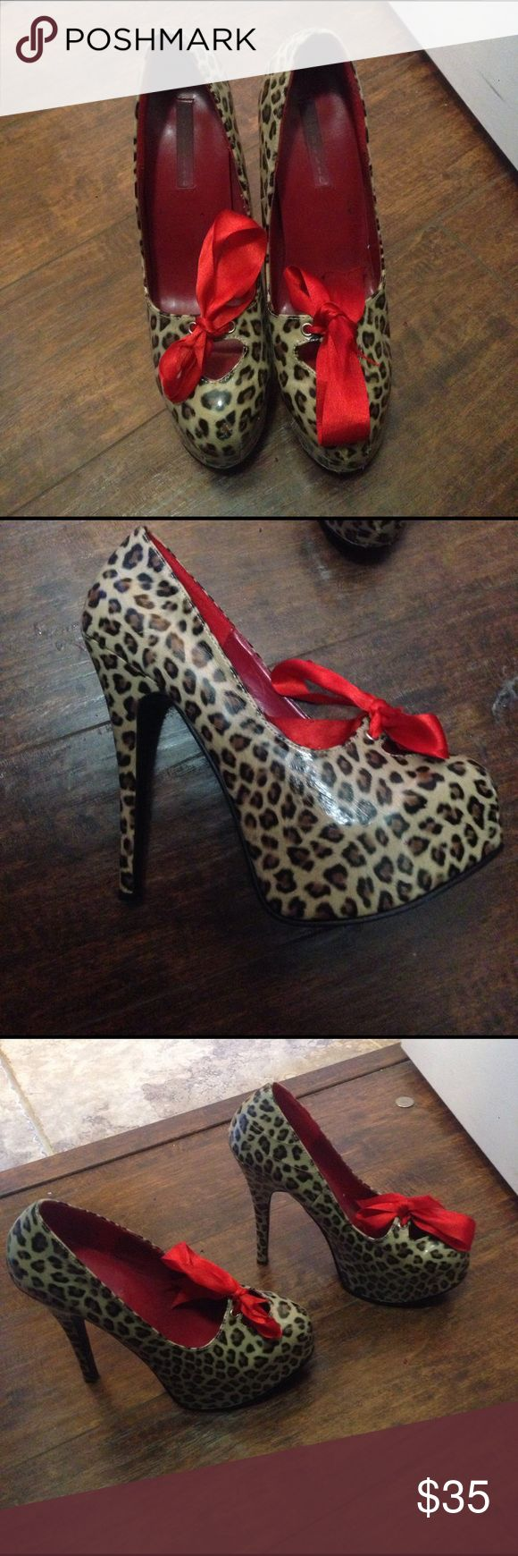 Cute leopard heels with red ribbon bow High hells adorable Shoes Heels