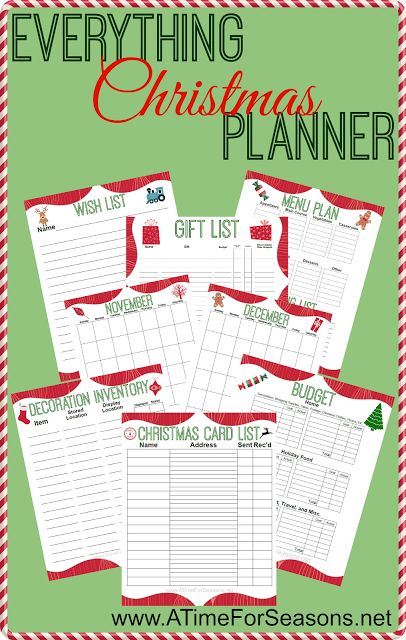 everything christmas planner organizer free printable holiday meal plan budget gift list decor