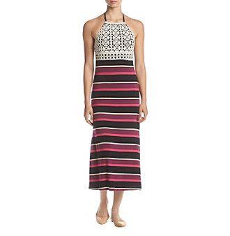Kensie® Halter Striped Maxi Dress