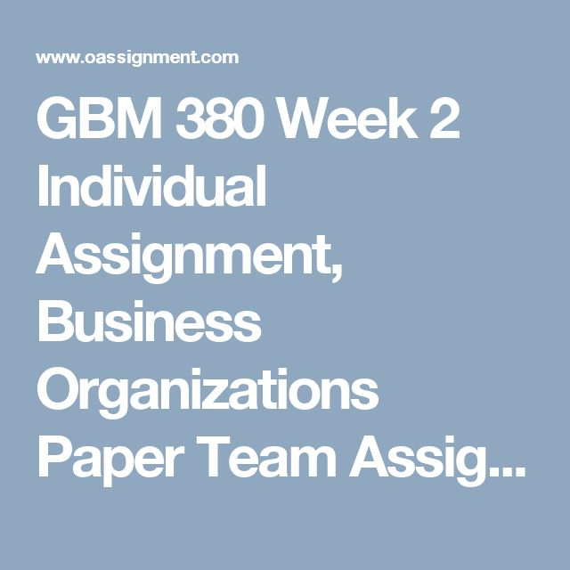 GBM 380 Week 2  Individual Assignment, Business Organizations Paper  Team Assignment, Globalization Trends Paper  Discussion Question 1 and 2