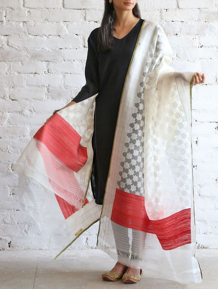 Ivory-Red Kora Silk Dupatta