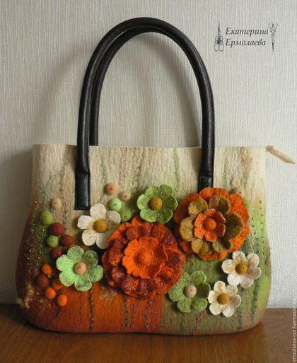 """Валяная сумка  """"Осенние цветы"""""""