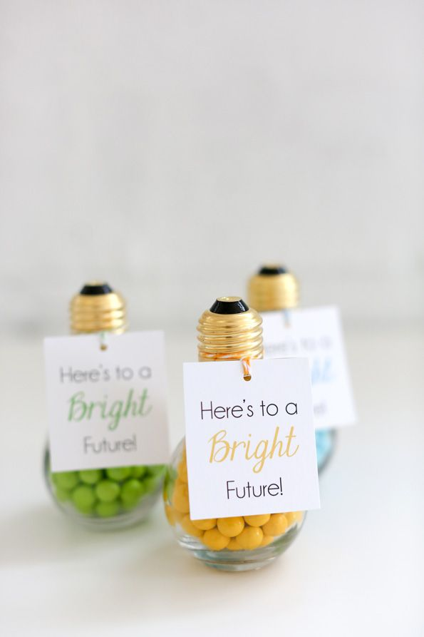 Add a touch of cuteness to your grad party with a few leftover light bulbs!