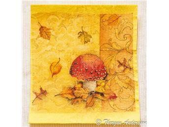 Disktrasa, diskduk 1st, dekorerade för hand, Höst, löv och svamp