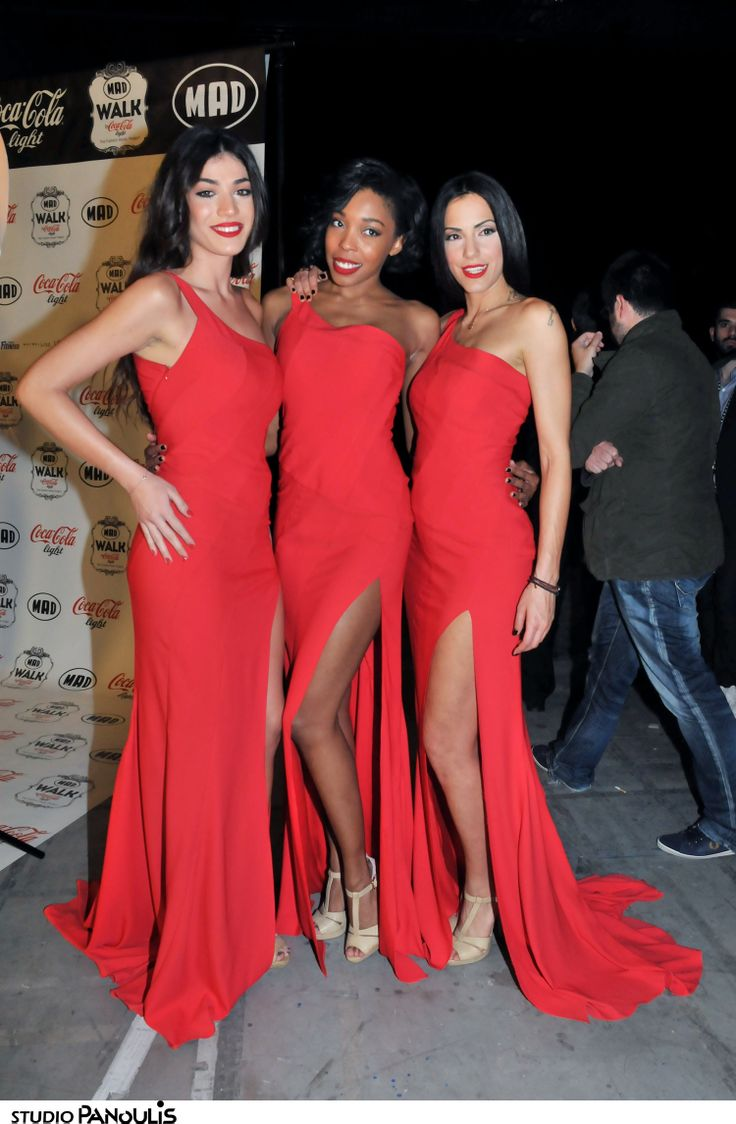 Our three muses posing in their #RedDress by #BSB & #CocaColalight