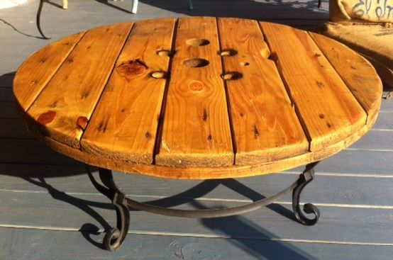 Great mix of #metal and #wood in this rustic, vintage-industrial table made from…