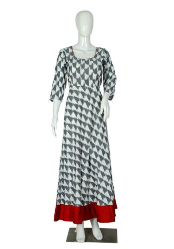 White and Maroon Ikat Anarkali Dress – Desically Ethnic