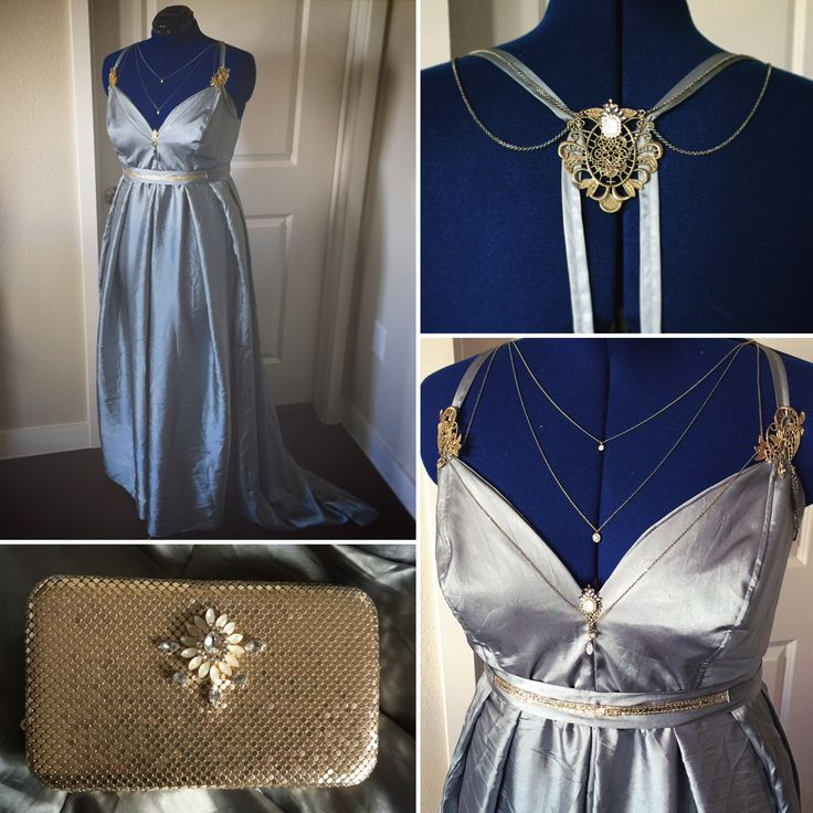 Blue satin fantasy gown, embellished with repurposed costume jewelry. August 2017
