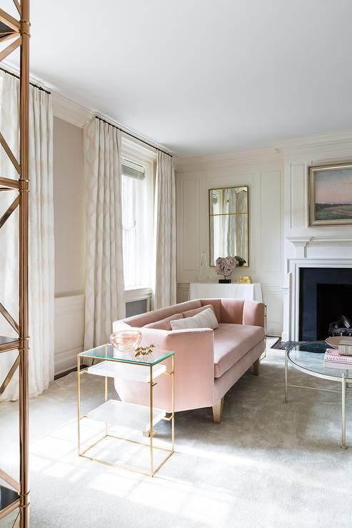 Pink And Gold Living Room Features A Curved Velvet Sofa Lined With Lumbar