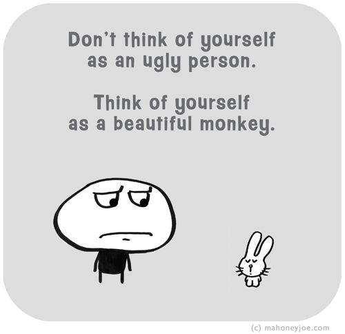 Don't think of yourself as an ugly person. Think of yourself as a beautiful monkey.  MJ1566 | Last Lemon