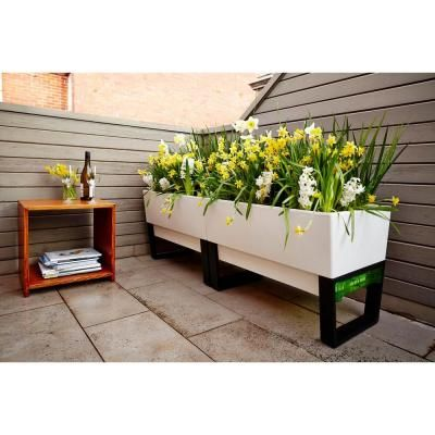 Glowpear 29 in. x 20 in. White Plastic Self-Watering Planter with Stand-GPUGSP-001 - The Home Depot