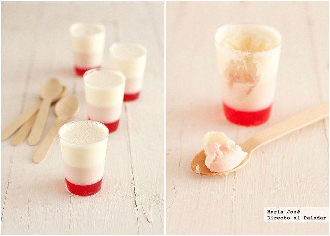 Receta de vasitos de yogur y gelatina rosa para San Valentín. Fotografías con el paso a paso del proceso de elaboración. Foto con sugerencia de ...