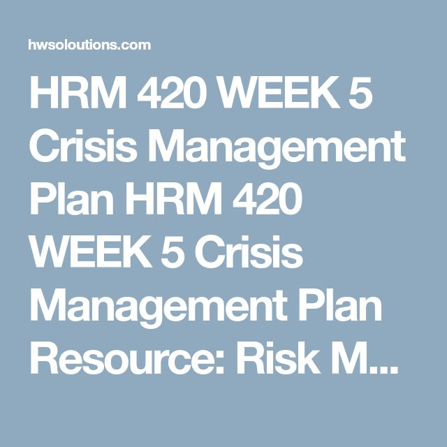 Hrm  Week  Risk Management Issues Hrm  Week  Risk