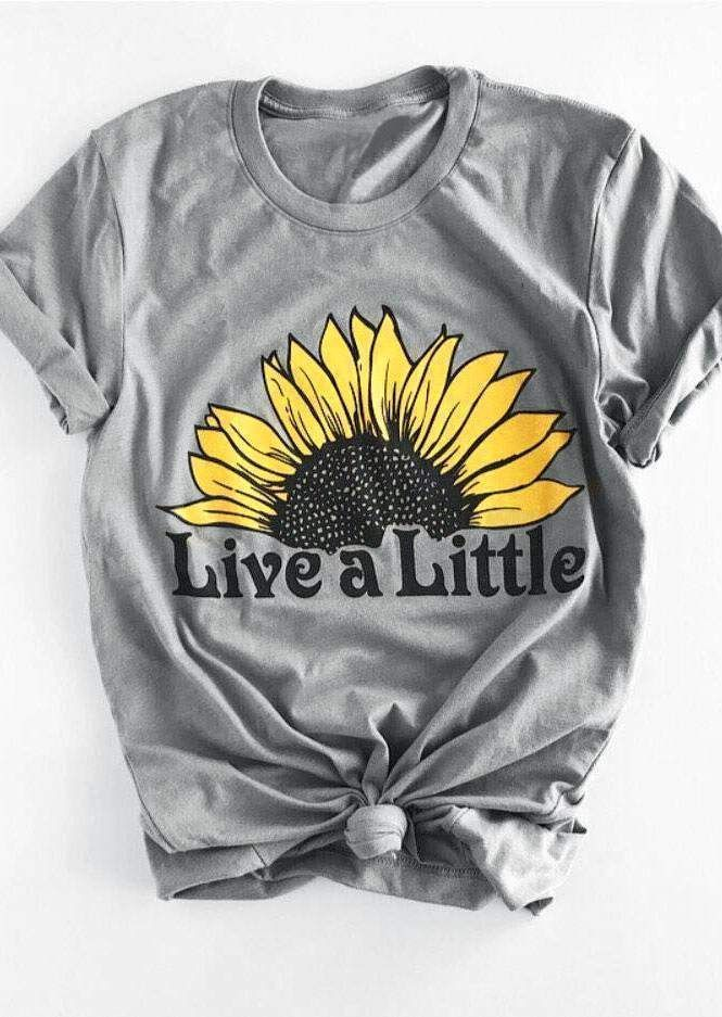 Little Girls Love Sunflower Funny Short Sleeve Cotton T Shirts Basic Tops Tee Clothes