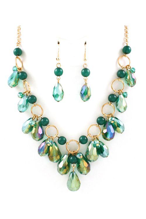Briella Necklace in Teal Crystal