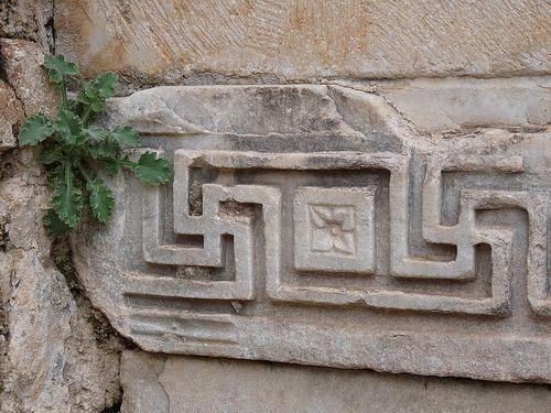 swastika decorative carving in Ephesus