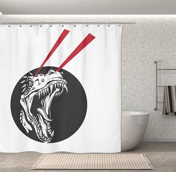 Dinosaur Shower Curtain T Rex Laser Eyes 70 Quot X 70 Quot