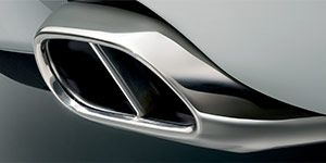 Close up of a chrome Jaguar tail pipe