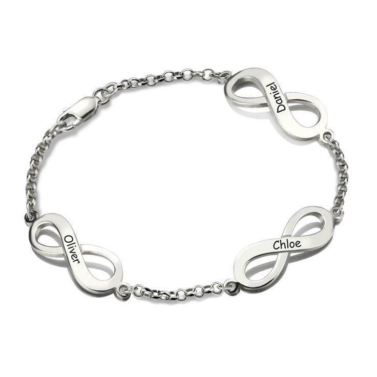 Three Engraved Names Infinity Silver Bracelet