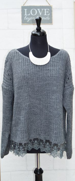 Mohair Blend Chunky Knit Ladies Jumper with Lace Hem £29.95