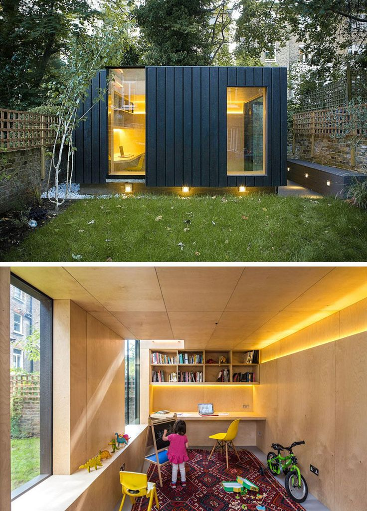 This charred cedar clad studio was added to the backyard of this London home to provide an office, a yoga studio, and a children's play area.
