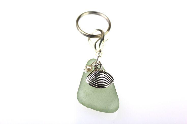 Aqua Sea Glass With Shell And Pearl Key Chain Aqua Sea Glass, Shell Charm, Pearl Collected and Created in Laguna Beach CA