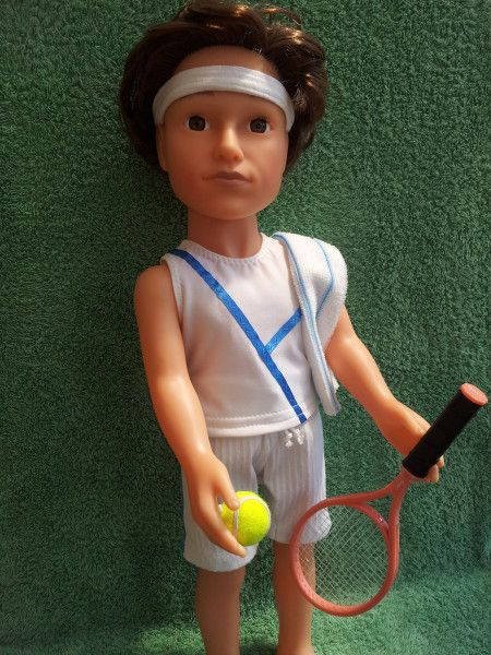 Men's Tennis outfit:  shorts, t-shirt, face towel and headband. Modelled on Designafriend Josh.