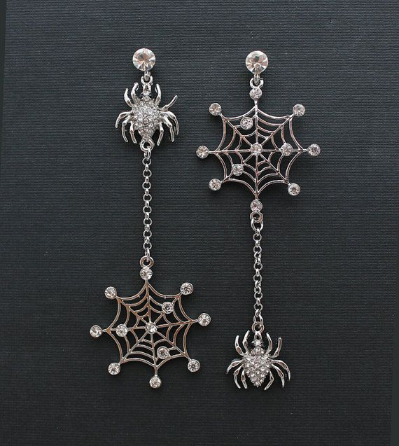 Crystal Spider Earrings. Halloween Wedding Jewelry Unique Bridal Earrings Bridesmaid Accessory Chandelier Silver Crystal Spider Jewelry