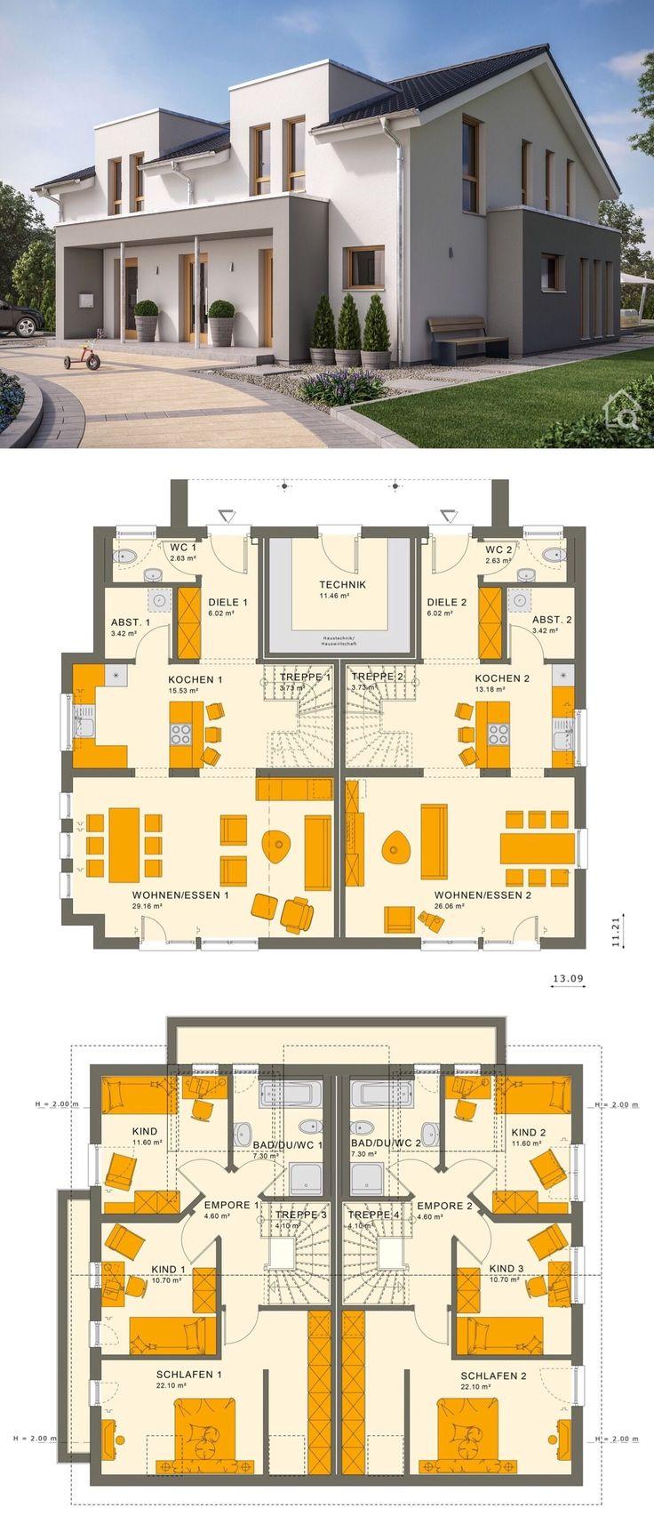 Mehrgenerationenhaus mit Satteldach Architektur als Zweifamilienhaus, Grundriss …