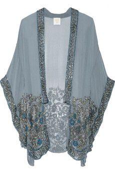 Anna Sui Embellished silk-chiffon kimono jacket | NET-A-PORTER