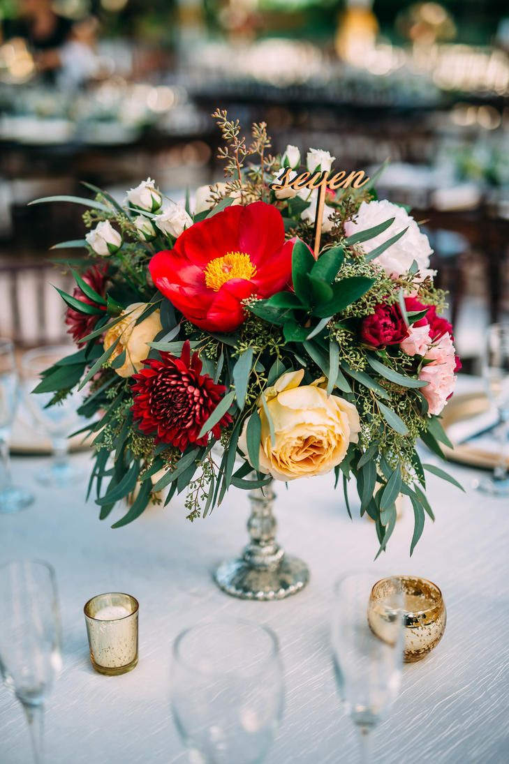 Peony and dahlia centerpiece with seeded eucalyptus