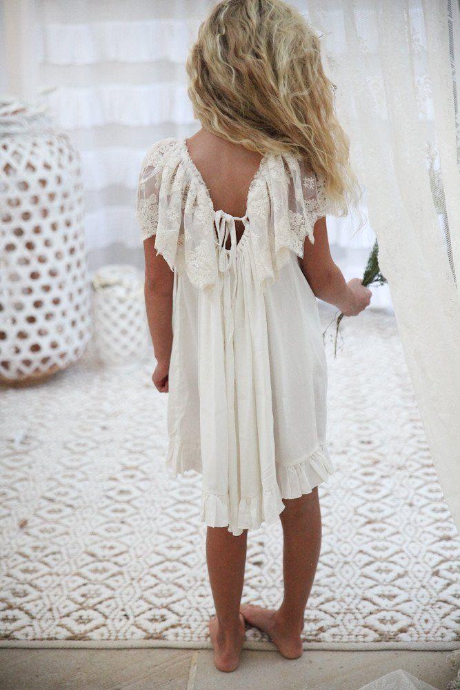 Simple white cotton flower girl dresses