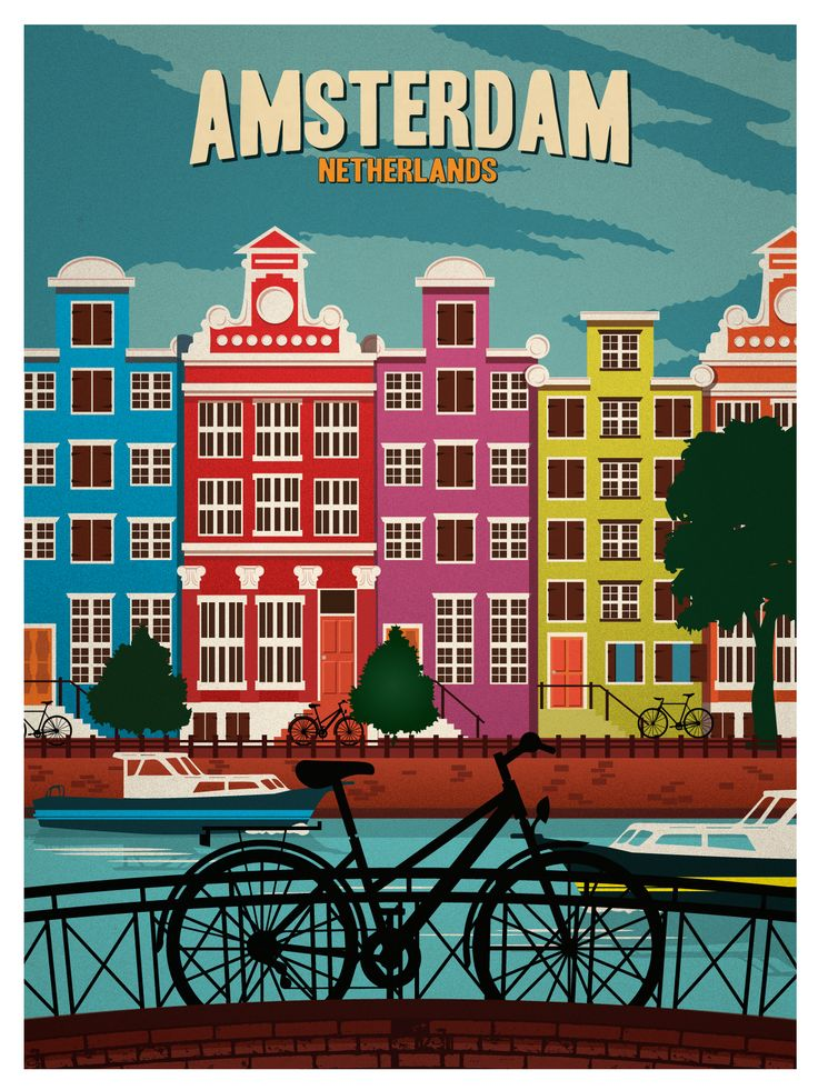 Vintage Amsterdam Poster by IdeaStorm Media