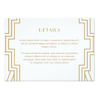 Art Deco Wedding Details Card Gold Enclosure - gold wedding gifts customize marriage diy unique golden