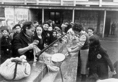 Drancy, France, 03.12.1942, Jews Washing Laundry in the Camp
