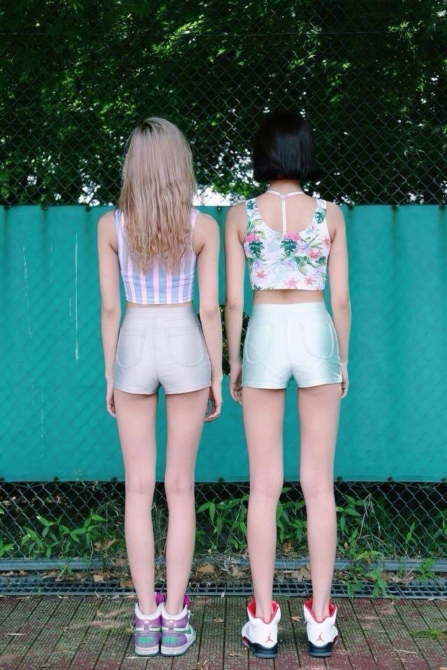 Printed crops & Disco Shorts
