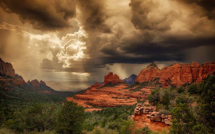 сша, пустыня, шторм, седона, аризона