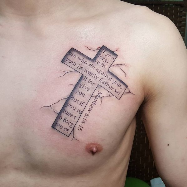 The Bible Verse Tattoo in a Cross on the Chest #tattoosformenonchest