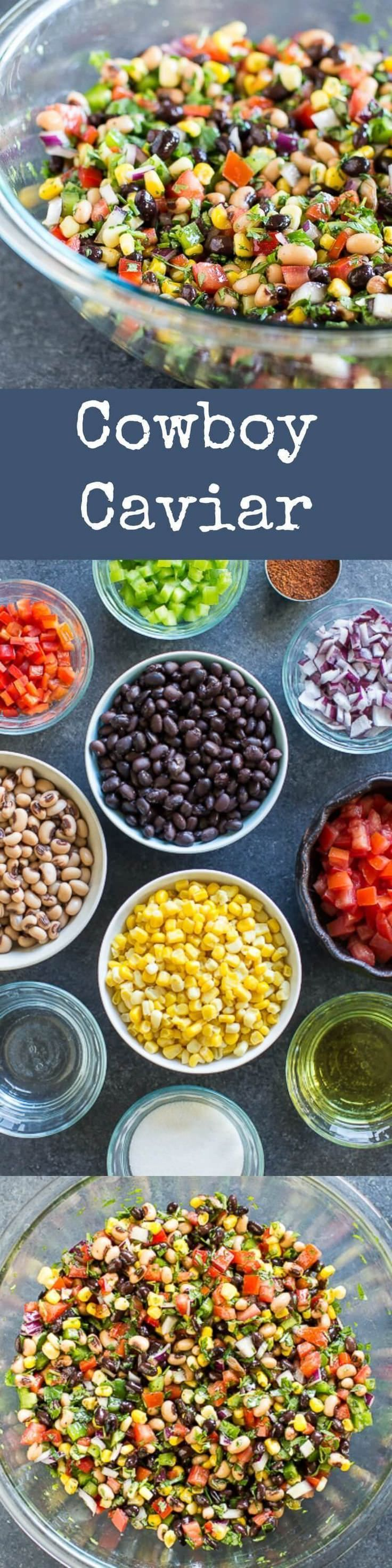 Chopped bell peppers, cilantro, beans, sweet corn and lots of super healthy and natural ingredients. The cowboy caviar recipe is easy to make, vegan and delicious.