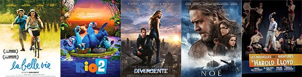 Mercredi 9 avril 2014, sorties cinéma sur Enfant - Nouveaux films sortis cette semaineau cinéma :La Belle vie ; Rio 2 ; Divergente ; Noé; Les Nouvelles (Més)aventures d'Harold Lloyd.