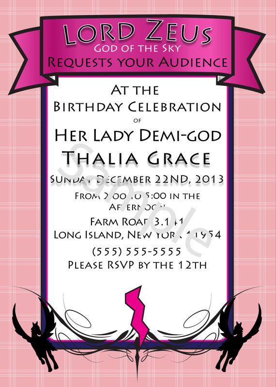 Demi-god/Percy Jackson Inspired/Greek God/ Half-Blood Themed Birthday Invitations- Miss Pink Child of Zeus Demi-god Boy or Girl- Digital