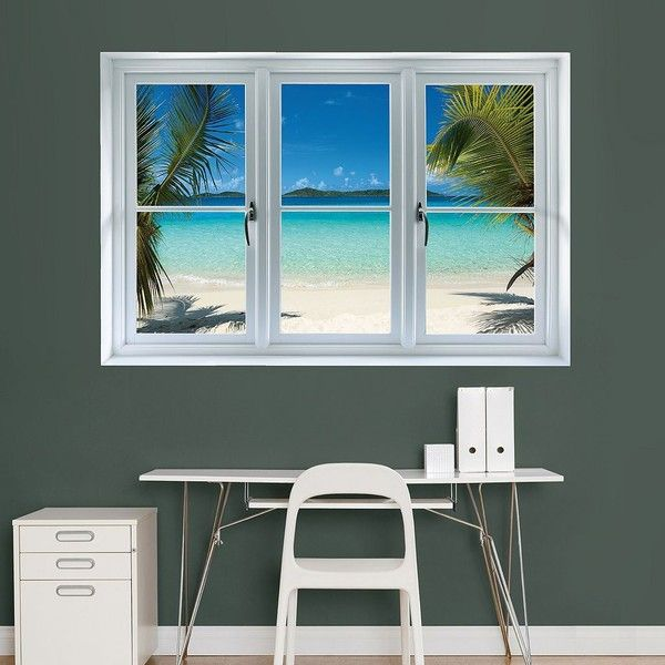 Fathead Beach Window Wall Decal () ($80) ❤ liked on Polyvore featuring home, home decor, wall art, vinyl wall art, vinyl wall stickers, fathead, fathead wall stickers and stick wall decals